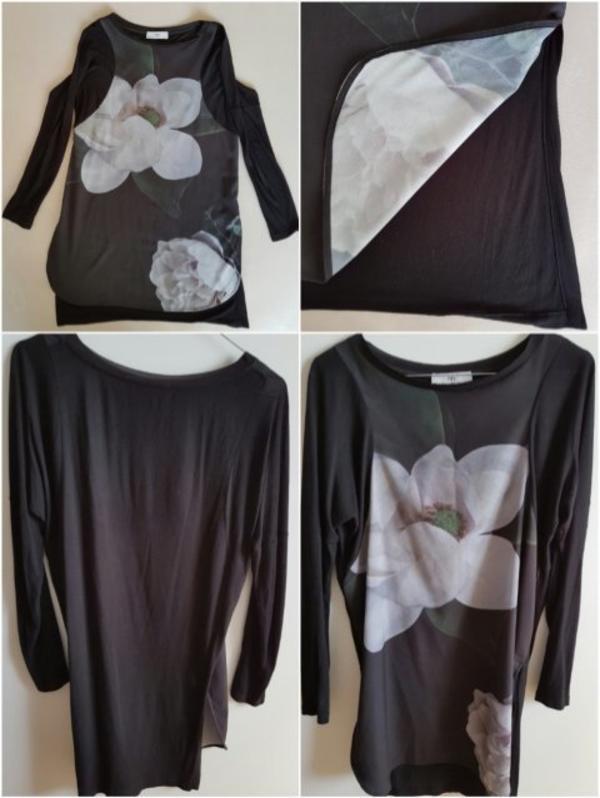 Tunika - T-Shirt - schwarz - bedruckt - Ostfildern - Tunika in Gr. 36.Vorderteil ist bedruckt mit einer Rose auf glänzendem Material, der Rücken ist uni auf schwarzem T-shirt Material. Hat zwei seitliche Schlitze trägt sich super über schmale Hose o. Rock - Ostfildern