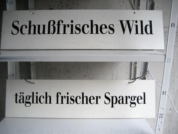 Verkaufschilder Spargel Wild - Gaststättenauflösung