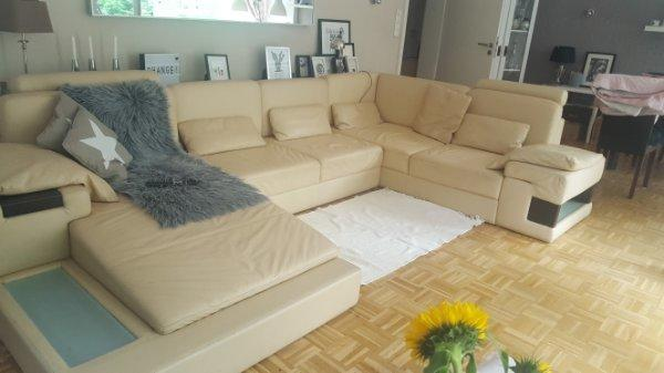Ledercouch Beige